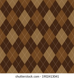 Argyle pattern autumn in brown. Traditional geometric vector argyll dark background graphic for gift wrapping, socks, sweater, jumper, wallpaper, or other modern classic fashion textile print.
