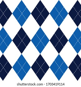 Argyle pattern blue classic design rhombus traditional