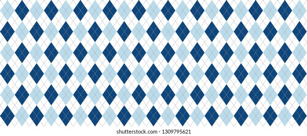 Argyle pattern blue diamond diamonds pattern Background lozenge checkered check print plaid Vector Seamless Geometric shape fun funny flanel textile texture square Bright fabric line pattern blue day