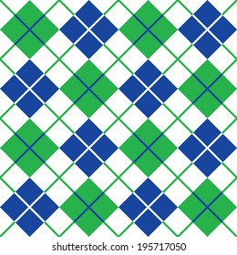 Argyle pattern in blue and green repeats seamlessly.