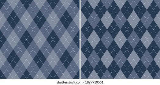 Argyle pattern in blue. Traditional geometric vector argyll dark background for gift wrapping, socks, sweater, jumper, or other modern autumn winter classic fashion textile print.