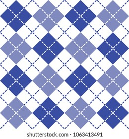 Argyle pattern in blue and white repeats seamlessly.