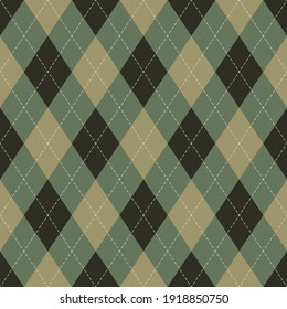 Argyle pattern dark in brown and green. Seamless menswear geometric stitched argyll vector graphic art for gift wrapping paper, socks, sweater, jumper, other modern autumn textile or paper design.