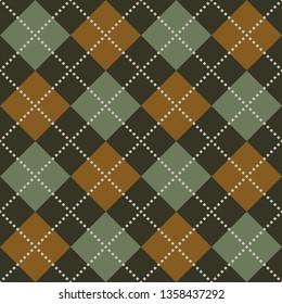 Argyle pattern in dark grey, green, and orange brown for menswear textile designs. Seamless rhombus diamonds check plaid.