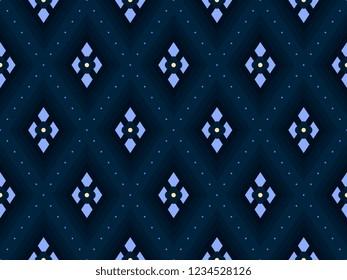 Argyle pattern ditsy floral allover motif. Ethnic snakeskin geometric print block for apparel textile, tweed, flock fabric, garment. Navy grey blue diamond seamless ogee design. Minimal vector graphic
