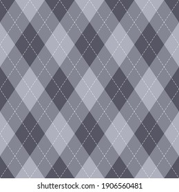 Argyle pattern geometric autumn design in grey. Traditional vector argyll stitched background for gift wrapping, socks, sweater, jumper, other trendy autumn winter classic fashion textile.