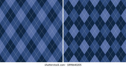 Argyle pattern geometric design in blue purple. Traditional vector argyll background for gift wrapping, socks, sweater, jumper, or other modern autumn winter classic fashion textile print.