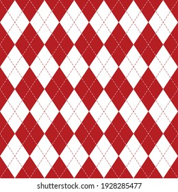 Argyle pattern seamless bright in red and white. Traditional geometric vector argyll background for gift wrapping, socks, sweater, jumper, other modern autumn winter classic fashion textile print.