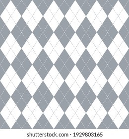 Argyle pattern seamless in grey and white. Traditional spring autumn winter stitched vector argyll light background for gift wrapping paper, jumper, sweater, socks, other trendy fashion textile print.