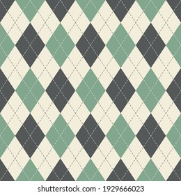 Argyle pattern seamless spring in grey, green, off white. Traditional geometric vector argyll background for gift wrapping, socks, sweater, jumper, other modern classic fashion textile print.