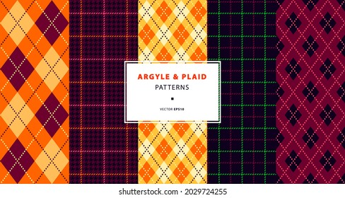 Argyle and plaid seamless pattern collection, autumn shades set. High quality precise seamless patterns