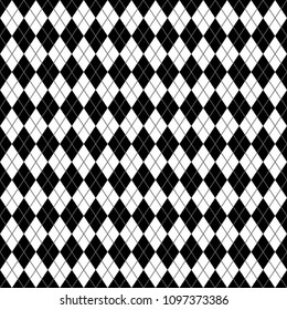 Argyle Seamless Pattern - Classic and clean black and white argyle