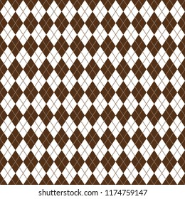 Argyle Seamless Pattern - Classic and clean brown and white argyle