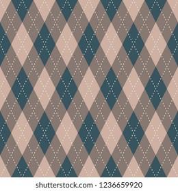 Argyle seamless pattern. Grey brown, blue and beige tartan plaid design. Printing block for interior textile, wallpaper, fabric cloth. Minimal geometric vector ornament. Simple diamond allover motif.
