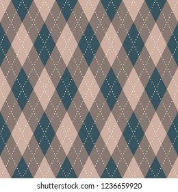 Argyle seamless pattern. Retro grey brown, blue and beige tartan plaid design. Print block for apparel textile, garment, fabric cloth. Minimal geometric vector ornament. Simple diamond allover motif.