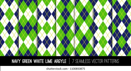 Argyle Seamless Vector Patterns in Navy, Green, White and Lime. Father's Day Golf Theme Party Backgrounds. Classic Sport Fashion Textile Prints. Pattern Tile Swatches Included.