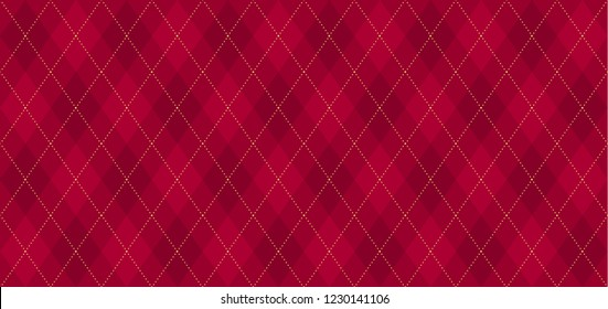 Argyle vector pattern. Dark red with thin golden dotted line. Seamless geometric background textile, clothing, wrapping gift paper. Backdrop Xmas party invite card. Christmas traditional color maroon