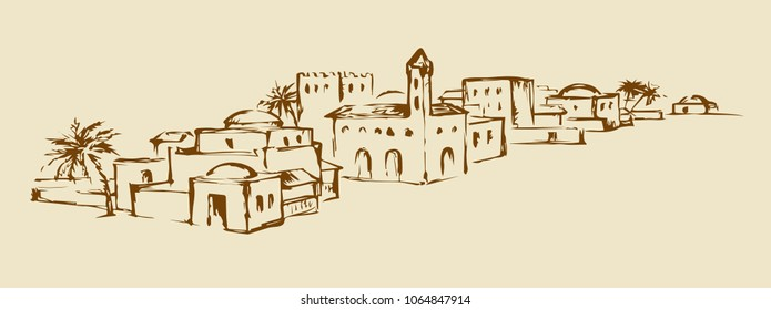 Arhaic eastern turkey orient desert sand palm Bahla oasis scenic view. Benhaddou stone dwelling scene. Outline ink hand drawn judaic picture in vintage style and place for text on white sky background