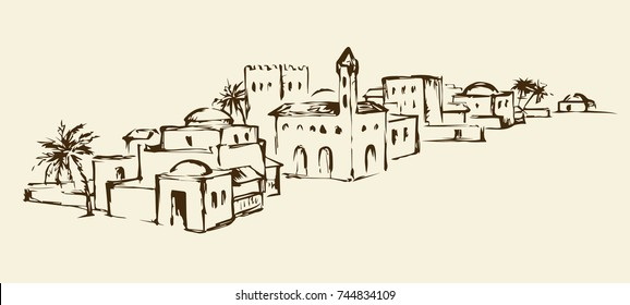 Arhaic eastern turkey orient desert sand palm oasis scene view with stone dwelling. Outline ink hand drawn picture sketch in vintage engraving graphic style with place for text on white sky background