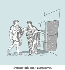 Ariadne and Theseus at the entrance to the maze, vector illustration