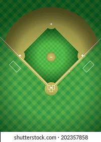 An arial view of a baseball field illustration. Vector EPS contains transparencies.