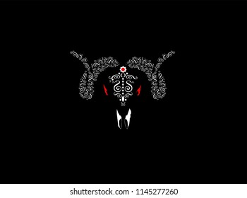 Aries beast vector illustration with ornament details