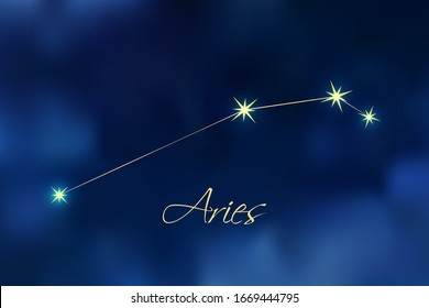 Aries constellation astrology vector illustration. Stars in dark blue night sky. Aries zodiac constellations sign beautiful starry sky. Aries horoscope symbol made of gold star sparkles and lines.