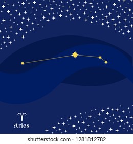 Aries constellation vector. Stars on deep blue sky with Aries zodiac sign