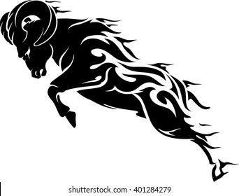 Aries Fire Element Ram Symbol