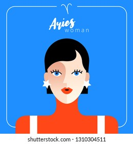 Aries Girl : Beautiful woman with horoscope sign :Vector Illustration