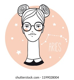 Aries girl. Sketch style woman with zodiac sign.