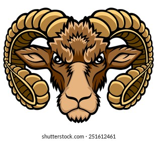 A Aries head logo. This is vector illustration ideal for a mascot and tattoo or T-shirt graphic.