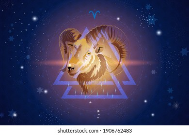 Aries horoscope sign in twelve zodiacs with astrology. Vector illustration