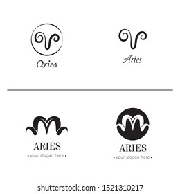 Aries logo template. Aries zodiac sign. Aries icon and symbol.