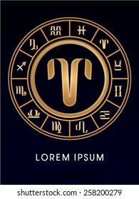 Aries ,Luxury 12 Zodiac wheel cycle sign, designed using gold line color on dark blue background, logo, symbol, icon, graphic, vector.