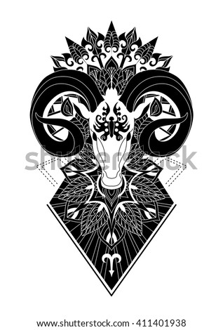 44973a390 Aries with mandala Tattoo design,Horn sheep line art design for coloring  book