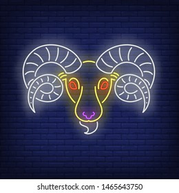 Aries neon sign. Ram, sheep, head. Astrological sign concept. Vector illustration in neon style, glowing element for topics like zodiac, horoscope, astrology