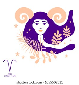 Aries and Ram of zodiac and horoscope concept, vector art, illustration. Beautiful girl silhouette. Astrological sign as a beautiful women. Future telling, horoscope, alchemy, spirituality, occultism