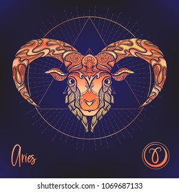 Aries, sheep, ram Zodiac sign. Astrological horoscope collection. Multicolor on black dackground. Vector illustration