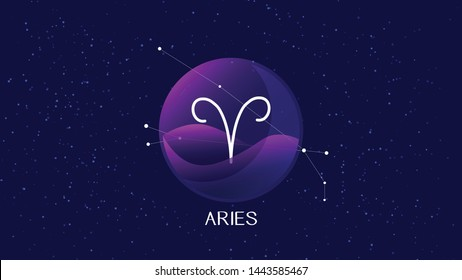 Aries sign, zodiac background. Beautiful and simple vector image of night, starry sky with aries zodiac constellation behind glass sphere with encapsulated aries sign and constellation name.