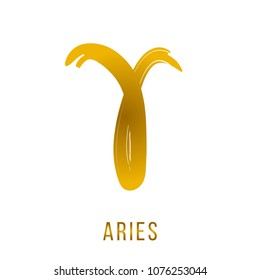 aries vector zodiac sign, hand drawn with ink brush with a golden gradient. Vector illustration