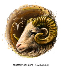 Aries. Zodiac sign. Artistic, color, hand-drawn image of the Aries zodiac with a symbol and star scheme in watercolor style on a white background.