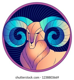 Aries zodiac sign, astrological, horoscope symbol. Futuristic style icon. Stylized graphic portrait of the stately, proud male sheep with blue big twisted horns. Ram looking to the side. Vector art.