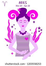 Aries zodiac sign. Girl vector illustration. Astrology zodiac profile. Astrological sign as a beautiful women. Future telling, horoscope, alchemy, spirituality, occultism, fashion
