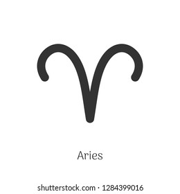 Aries zodiac sign isolated on white background. Star sign for astrology horoscope. Zodiac line stylized symbol. Astrological calendar pictogram, horoscope constellation vector illustration.