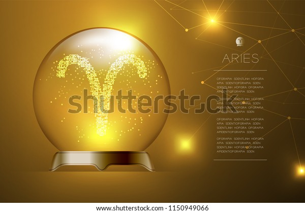 Aries Zodiac Sign Magic Glass Ball Stock Image   Download Now