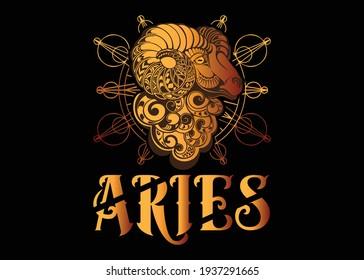 Aries Zodiac Sign T shirt Design Vector Illustration