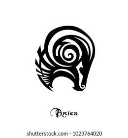 Aries zodiac sign tattoo art vector