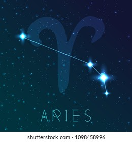 Aries zodiac sign. Vector illustration with constellations and hand-drawn astronomical symbols. Shining stars in the night sky.