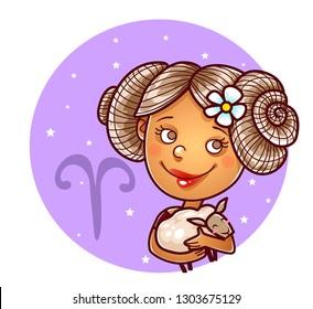 Aries zodiac sign, vector illustration.